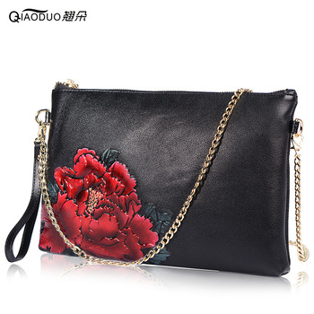 First Layer Genuine Leather Hand Bag Envelope Envelope Party Bag Bolsa Feminina Chain Women Messenger Bags Chinses Wind Shoulder