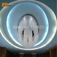 Promotion Sales Modern Oval Luxury K9 Crystal Chandelier Hotel Lobby Chandelier LED Project Lighting L100 W80