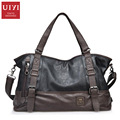 UIYI Casual Leather Men Handbag Shoulder Bags Business Men's Travel Bag Tote Shoulder Strap Bag Men 14 inches Laptop Bags Bolsos