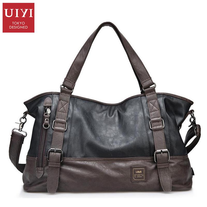Prix pour Uiyi casual hommes sac à main pu sacs à bandoulière hommes sac de 14 pouces ordinateur portable homme totes bandoulière sacs bretelles long 130 cm
