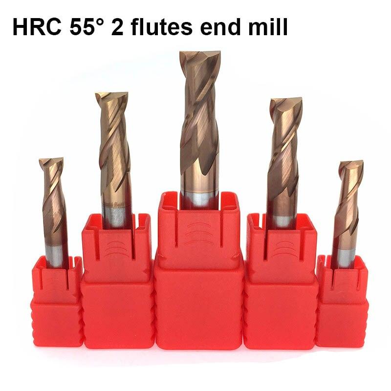 HRC55 градусов Вольфрамовая сталь фреза TiSiN покрытием 2 флейты CNC Карбид бит Endmilll для легированной стали нержавеющая сталь медь