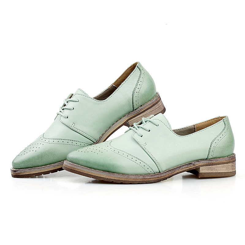 British Retro Genuine Leather Oxfords Shoes For font b Women b font Flats Lace Up Punch