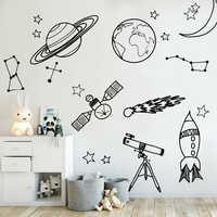 DIY наклейки на стену для детской комнаты астрономические инструменты космическая Астрономия школа Deocr Фреска виниловая наклейка съемные на...