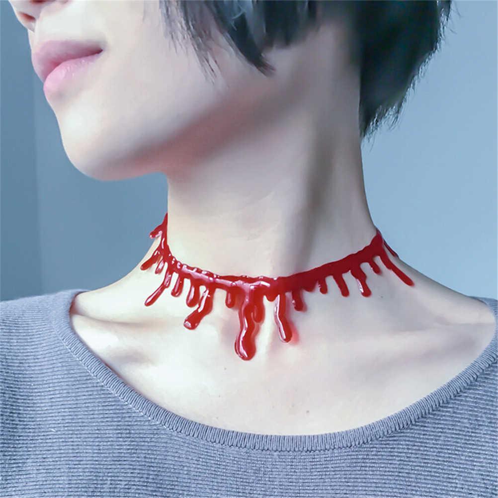 Decoración de Halloween Horror sangre collar con forma de gota de sangre falsa vampiro elegante Joker collar traje rojo collares accesorios de fiesta