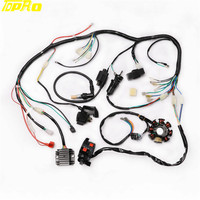 TDPRO Full Electrics Wiring Harness CDI Ignition Coil Key Switch Moped Relay 200cc 250cc Pitbike ATV Quad Bike Buggy Gokart
