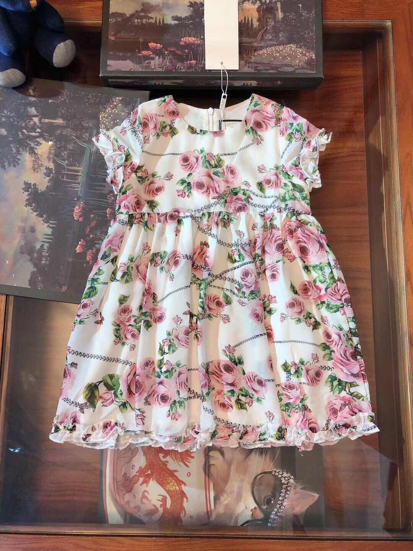 2019 nouvelle mode filles vêtements robe fleur imprimé sans manches Boutique haute qualité princesse robe de soirée