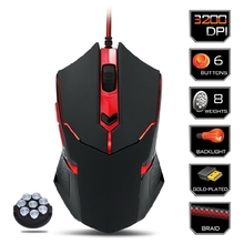 USB Wired Gaming Mouse 3200DPI Adjustable Optical 6 Buttons Mouse Gamer for PC Notebook Laptop Steelseries Games with 8 Weights