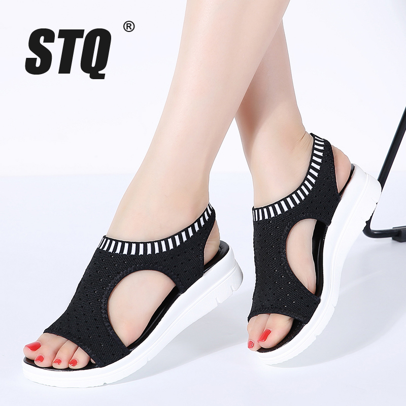 STQ Comfort Sandals Female Shoes Summer Wedge Flat Women Ladies New QS808