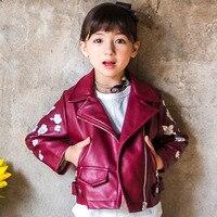 2018 Newest PU Leather Jackets Girls Flowers Fashion Turn Down Collar Long Sleeve Zipper Casaco Infantil Punk Hip Hop Coat Girl
