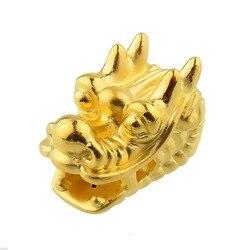 Nova chegada pure 24k amarelo ouro feminino 3d lucky dragon grânulo pingente 2-2.5g