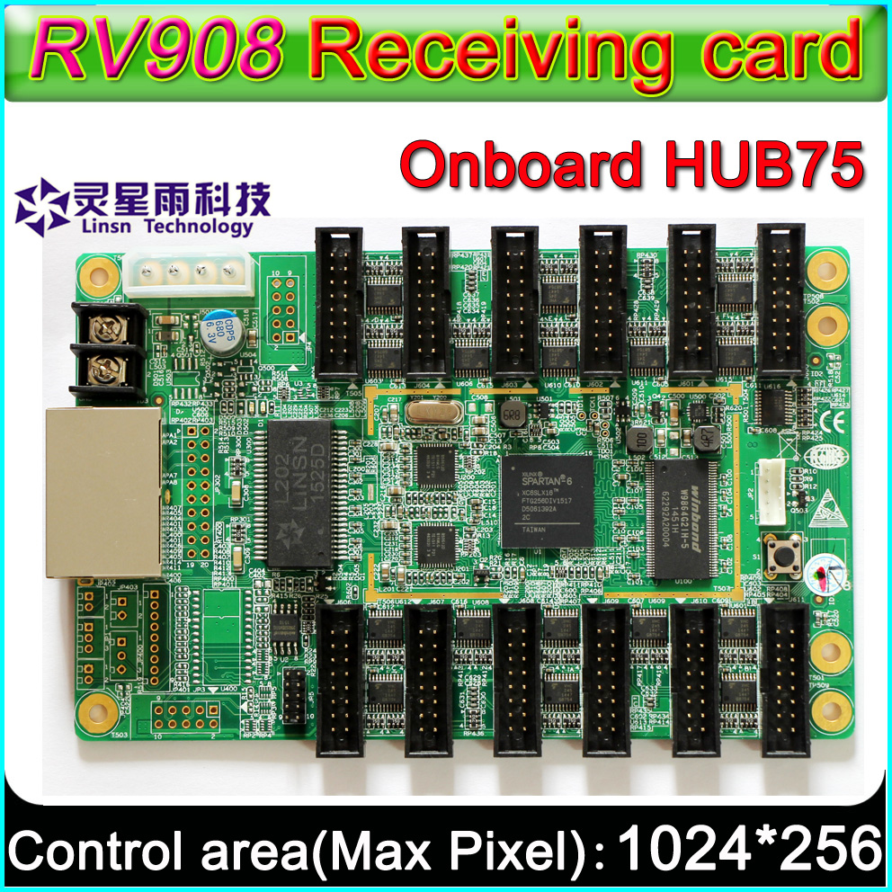 P5 P6 P10 Full Color LED Display Controller, LINSN RV908 Receiving Card,Gigabit Network Card Solution(Without Sending Card)