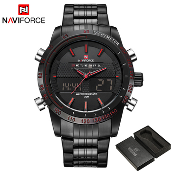Men Fashion Sport Watches Men's Quartz Digital Analog Clock Man Full Steel Wrist Watch 1