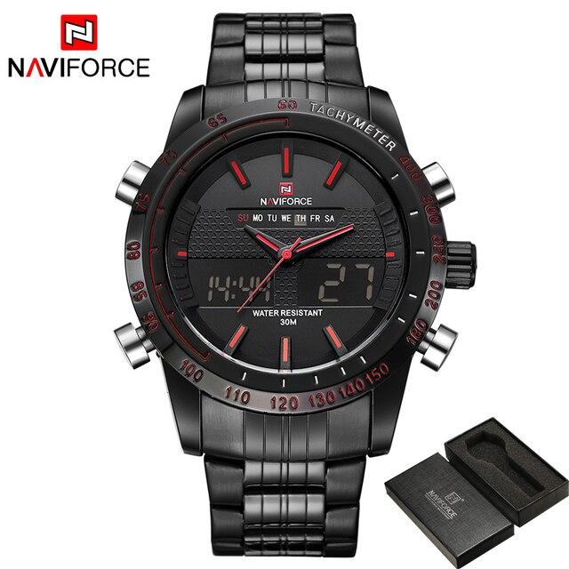 Men Fashion Sport Watches Men's Quartz Digital Analog Clock Man Full Steel Wrist Watch 1