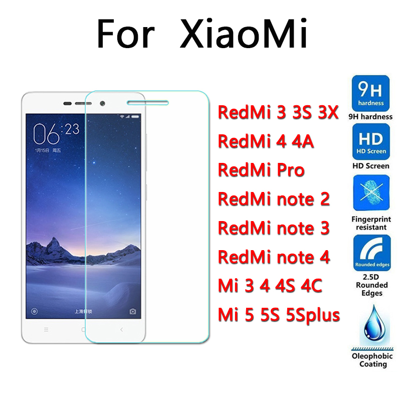 Tempered Glass For Xiaomi Redmi 3 3S 3X pro 4 4A note 2 note 3 note 4 mi4C mi5 5S plus Screen Protector 9H 2.5D hd mi4