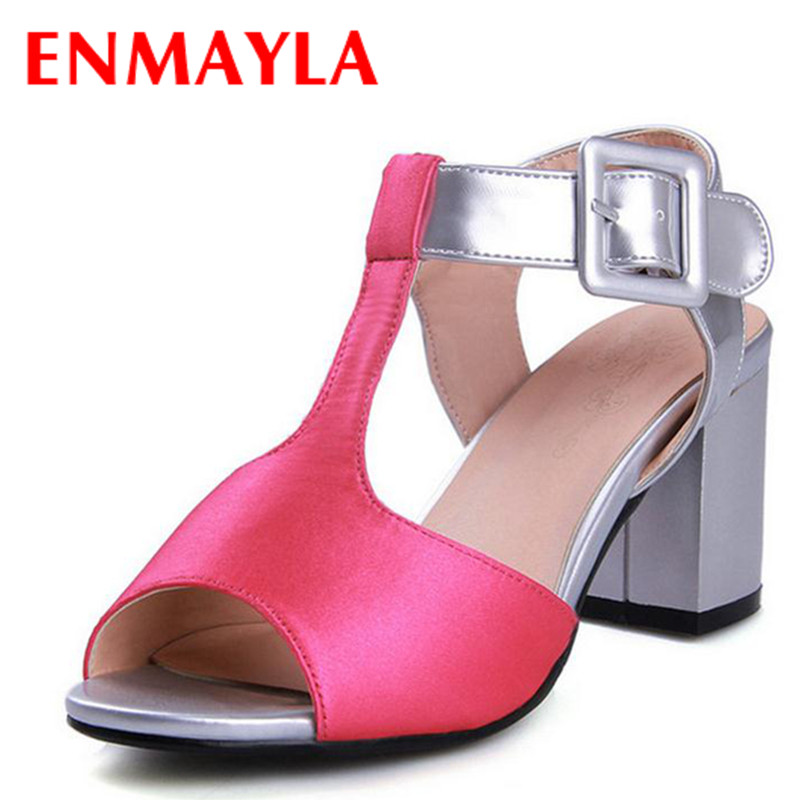 ФОТО Airfour T-Strap Mixed Colors Square heel High Sandals Wedding Women Sandals Summer High Sandals Platforms Sandals open toe shoes