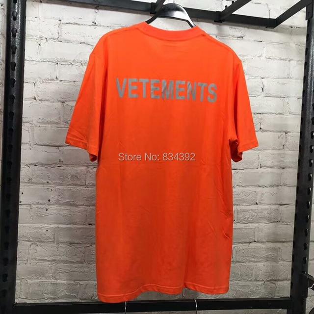 7e3bc7804b55 2018 F/W Summer STAFF VETEMENTS Orange reflective Letter Embroidery men  short sleeve t shirt Hip hop Fashion Casual Cotton Tee