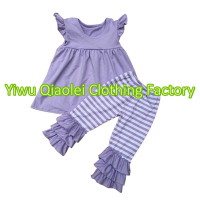 Factory Baby Girls Boutique Flutter Sleeve Top And Stripe Pants Kids Clothes Wholesale Girls Clothing