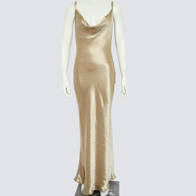 Ordifree 2019 Summer Women Satin Slip Dress Spaghetti Strap Sexy Backless Maxi Dress Gold Silk Long Dress