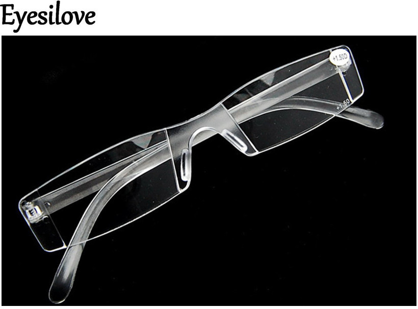 Eyesilove Unisex New Presbyopia +1.00-+4.00 Diopter Eyeglasses Clear Rimless Reading Glasses transparent clear image