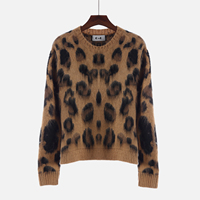 Knit Pullover Women S Korean Fashion Cute Leopard Sweater Pullover Long Sleeve O Neck Winter Cashmere