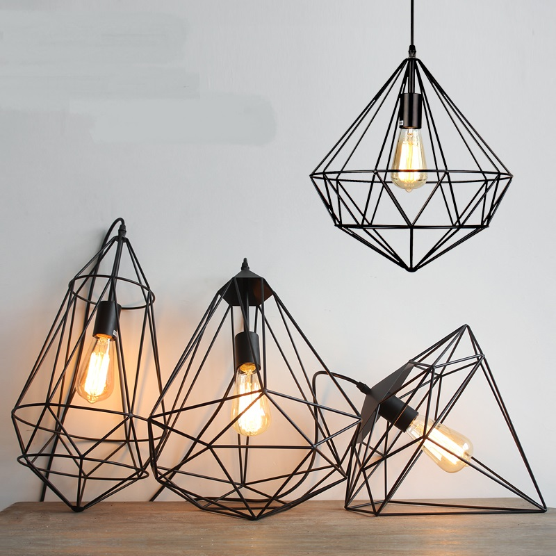 Nordic simple geometric Iron Pendant Lights country cafe table loft creative bar lamp Pendant lamps ZA free shipping 5 pcs nordic restaurant coffee retro shop pendant lights bar loft iron pendant lamp 2d geometric character lamps