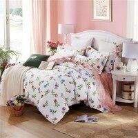 Nueva Floral Bedding Set Full Twin Queen King Size Ropa de Cama 100% Algodón Edredón/Edredón/Edredón Cover Set fundas de almohada Textiles Para El Hogar 3 UNIDS