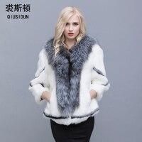 Натуральное Женское пальто с кроличьим мехом воротник из лисьего меха большой размер кроличья шкура Женское зимнее пальто Черное женское п