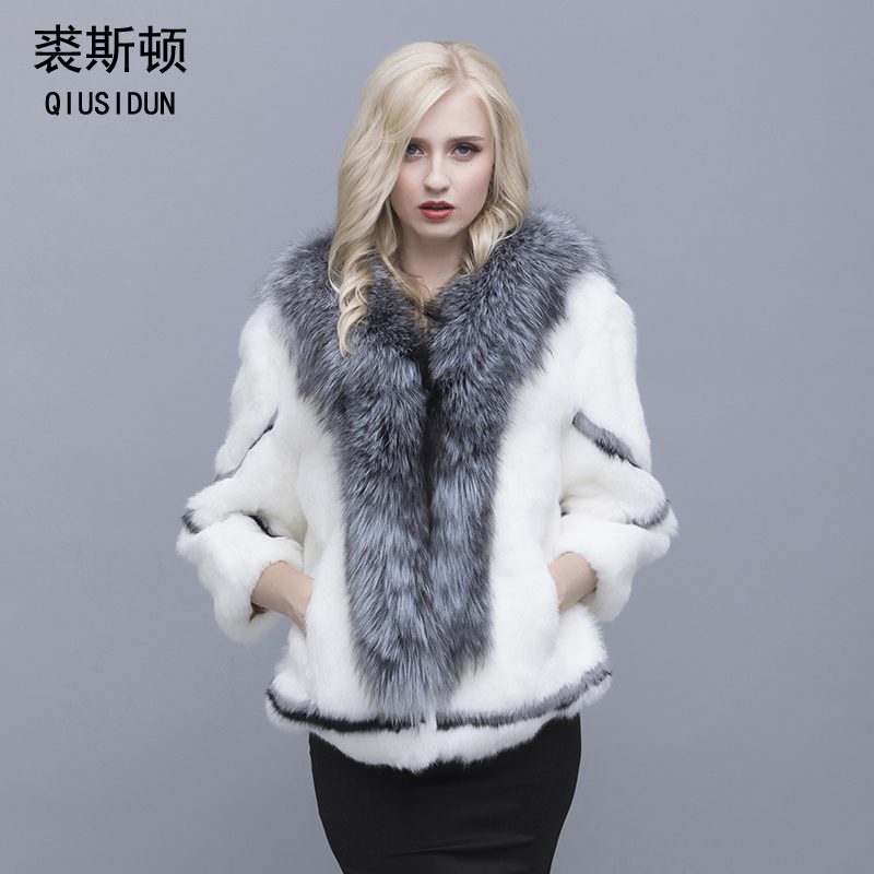Réel naturel femmes manteau de fourrure de lapin col de fourrure de renard grande taille peau de lapin femmes manteau d'hiver noir femme décontracté automne manteau