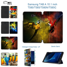 MTT Fashion Print Parrot PU Leather Case For Samsung Galaxy Tab A a6 10.1 2016 T580 T585 SM-T585 Case Cover Tablet Shell Funda
