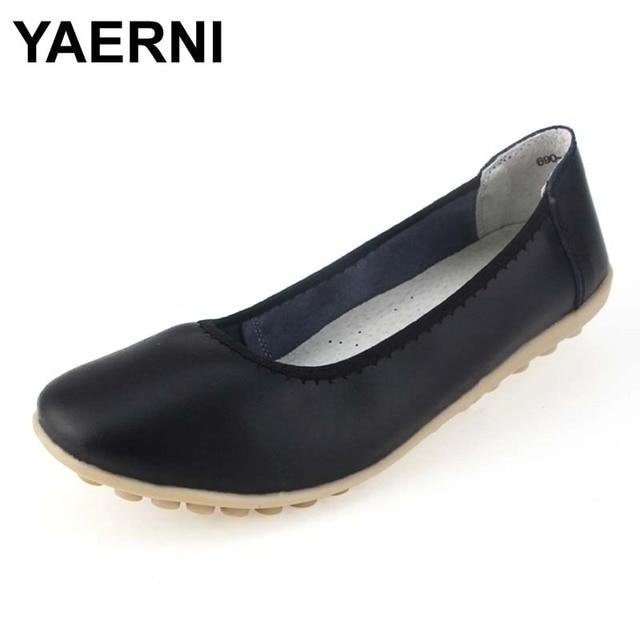 code promo 9978f 42a06 € 13.01 50% de réduction|YAERNI femmes véritable travail de bureau en cuir  chaussures femme chaussures plates Femmes appartements mocassins BSN 149 ...