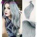 Qualidade superior Grau 8A cabelo brasileiro virgem clipe ins cinza prata clipe em remy extensões de cabelo cinza grampo em extensões de cabelo humano