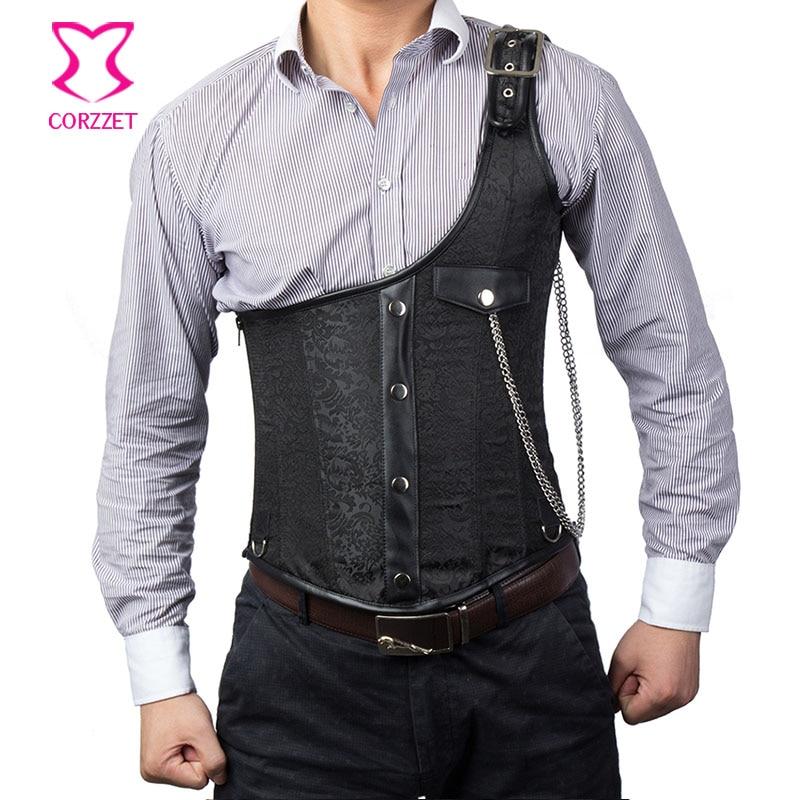 Vintage Black Brocade Buckled One-Shoulder med Chain Gothic Jacket - Herretøj - Foto 1
