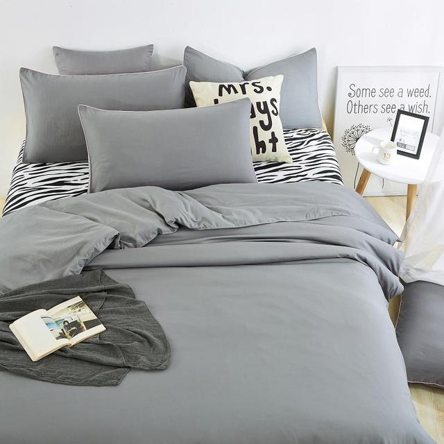 Home Bedding Sets Zebra Bed Sheet And Gray Duver Quilt Cover Pillowcase  Soft And Comfortable King