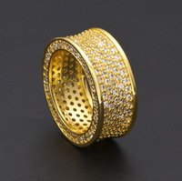 Hip Hop Gold Silver Color Mosaic Zircon Stainless Steel Men Ring Fashion Bling Bling Jewelry
