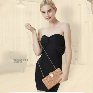 Image 5 - Women Clutch Bags Day Clutches Pink Gold Purse for Wedding Crossbody Bags for Women 2019 Metal Leaf Lock Female Handbag ZD1076