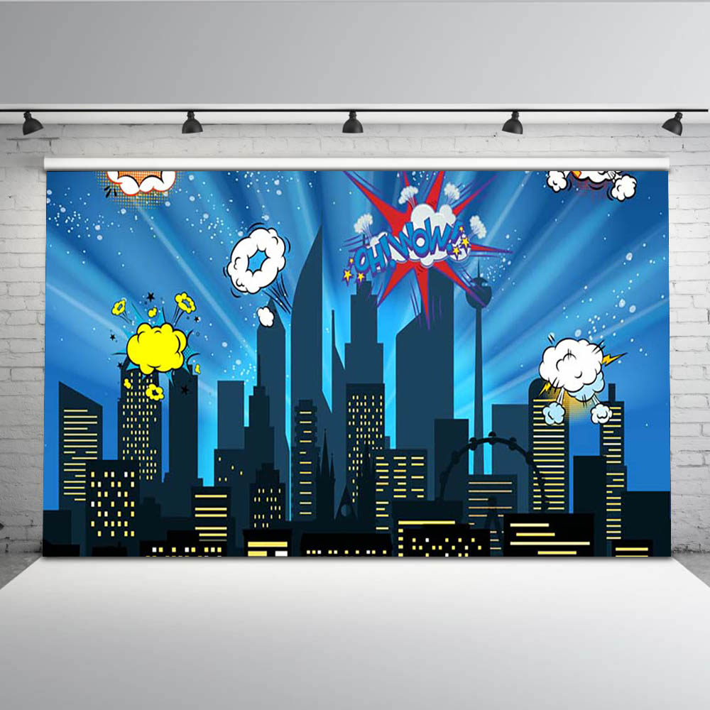 night sky super city skyline cartoon photography studio background Vinyl cloth High quality Computer print party backdrops