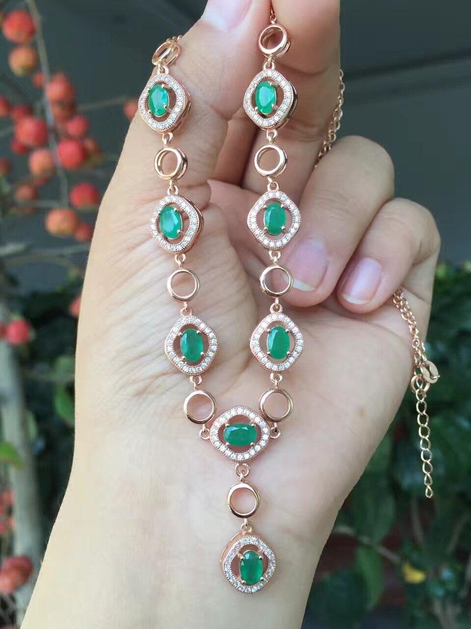 Uloveido naturalny zielony szmaragdowy wisiorek naszyjnik dla kobiet, 925 Sterling Silver kamień ślub naszyjnik wisiorek dla dziewczyn FN281 w Naszyjniki od Biżuteria i akcesoria na  Grupa 1