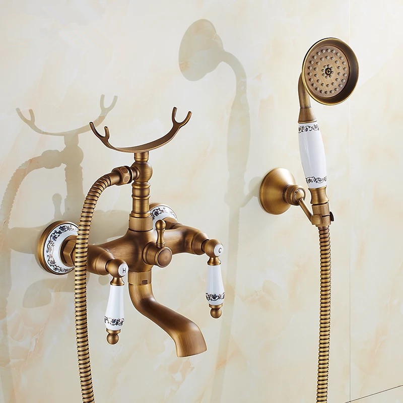 Antique bath faucet with shower porcelain shower faucet bathroom telephone bath faucet with hand shower bathroom shower tap 1 8x1 8m peva bathroom shower curtains moldproof waterproof 3d thickened household bathroom shower curtain plastic bath screen