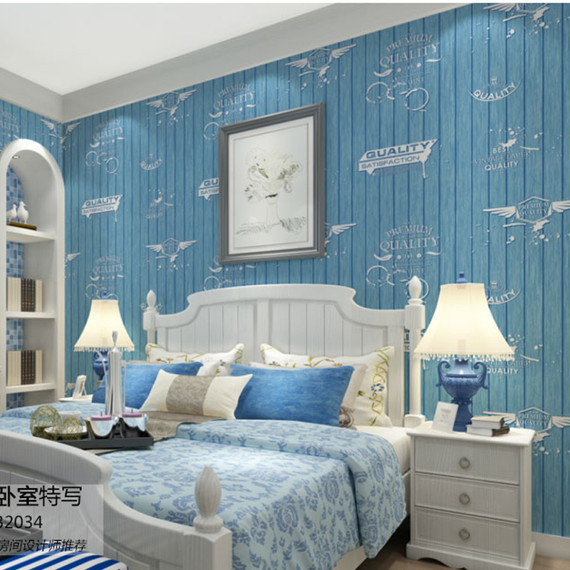 boys bedroom wallpapers non woven blue strip wallpaper roll for walls
