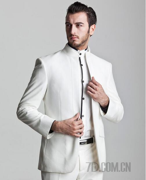 White Stand Collar Groom Wedding Suits For Men Blazer Boys Prom Mens Chinese Tunic Suit Latest Coat Pant Designs No Buckle In From S