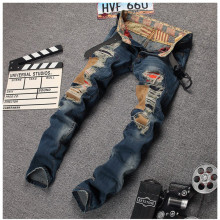 Famous Brand Jeans Men Light Blue Frazzle Holes Patchwork Denim Pants  Male Slim Fit Ripped Trousers For Man #LS696