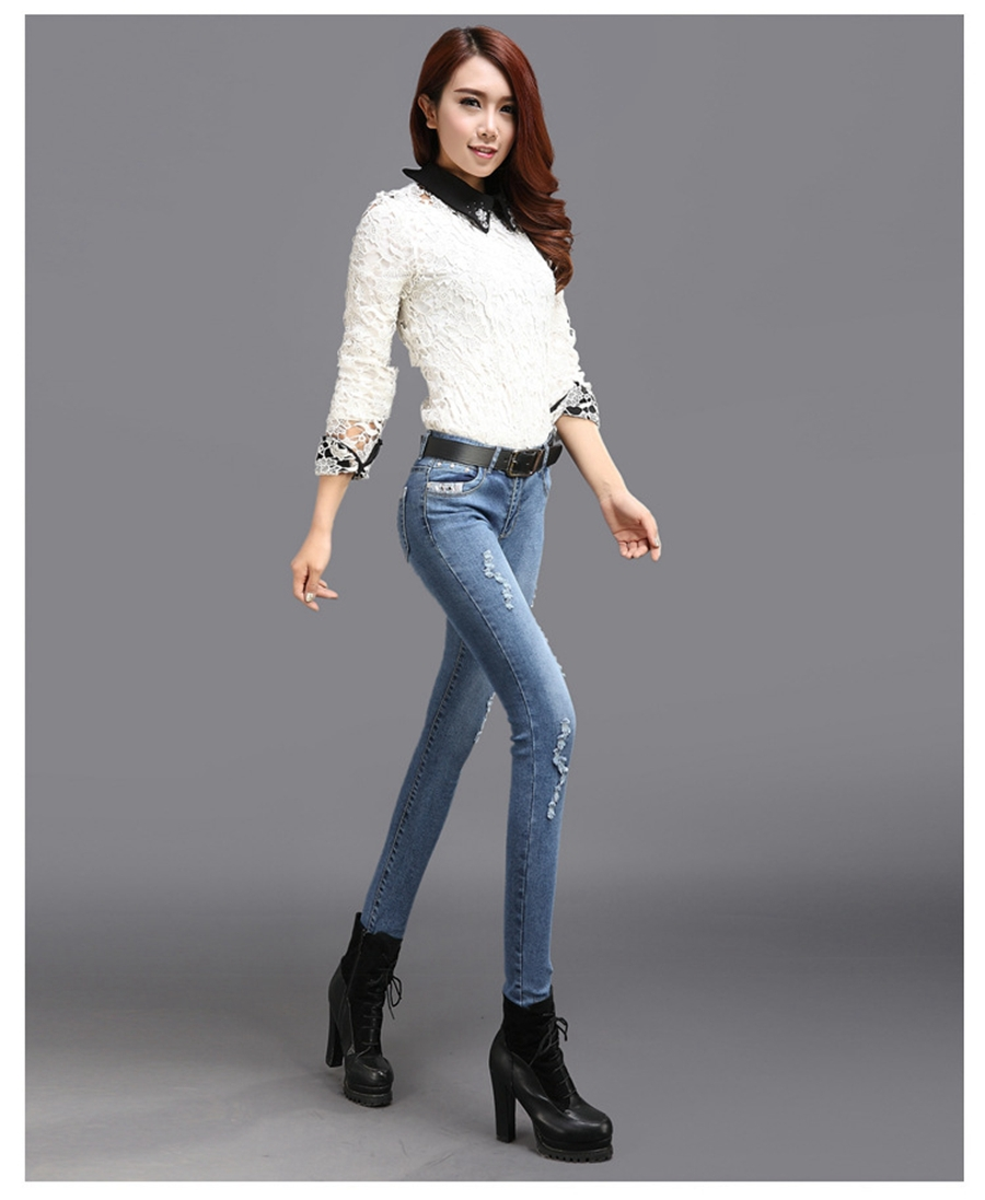 9537d03e664 Free Shipping 2015 New Women s Hole Jeans Korean Version Of Slim Was Thin Feet  Pencil Pants Skinny Jeans Female Models-in Jeans from Women s Clothing on  ...