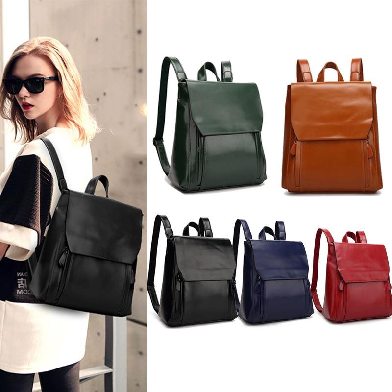 Women Backpack Genuine Leather Cowhide Travel Casual Daypack Vintage Solid Ladies Girls  ...