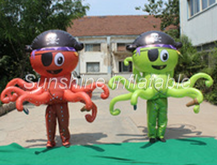 Walking about funny adult inflatable octopus costume for for event stage prada decoration