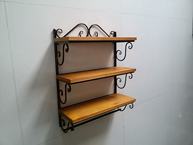 American Country Wrought Iron Wood Wall Mount Shelf Shelves Bathroom Towel Rack Perfume