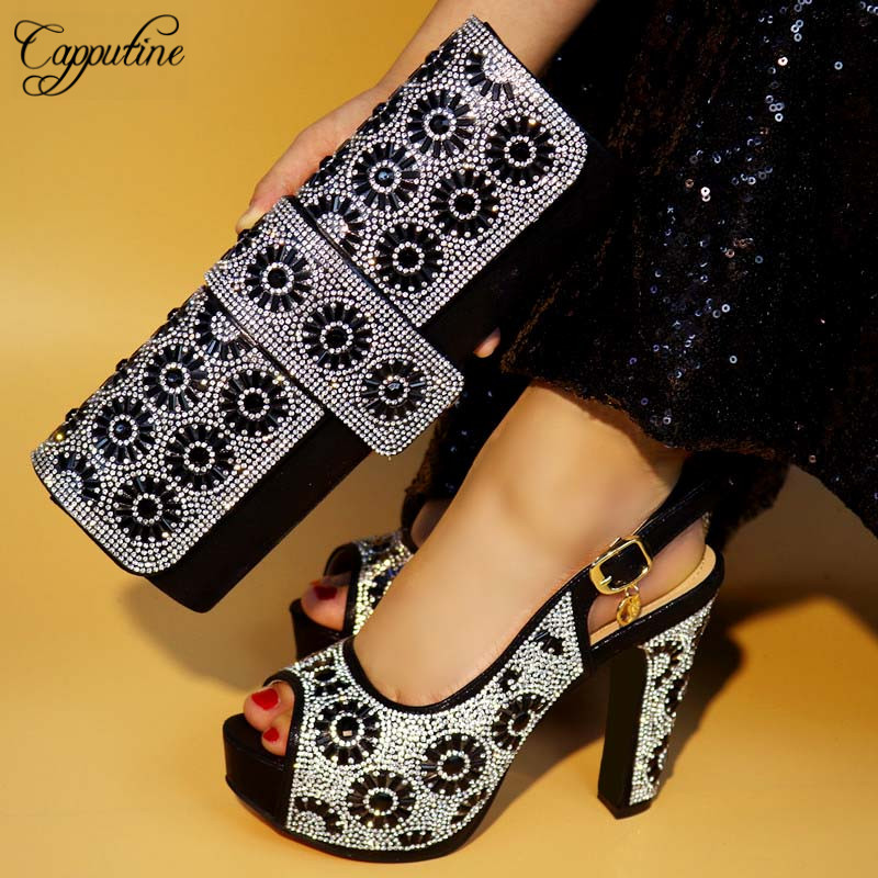Capputine New 2018 African Design Black Shoes And matching Bags Italian Style High Heels Shoes And Bag Set For Party TX-421 capputine european style elegant rhinestone shoes and bags set african style woman high heels shoes and bags for wedding party
