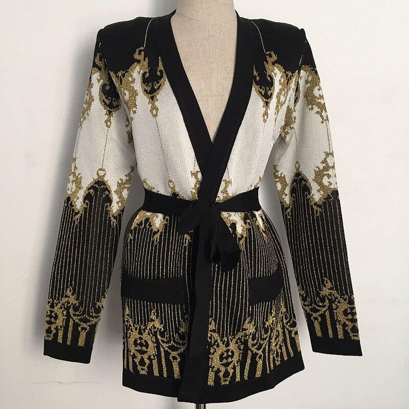 HAGEOFLY Winter Gold Thread Knit Weater Cardigan Jacket Celebrity Casual Floral V neck Sashes Belt Slim Coat Autumn 2017 New XL
