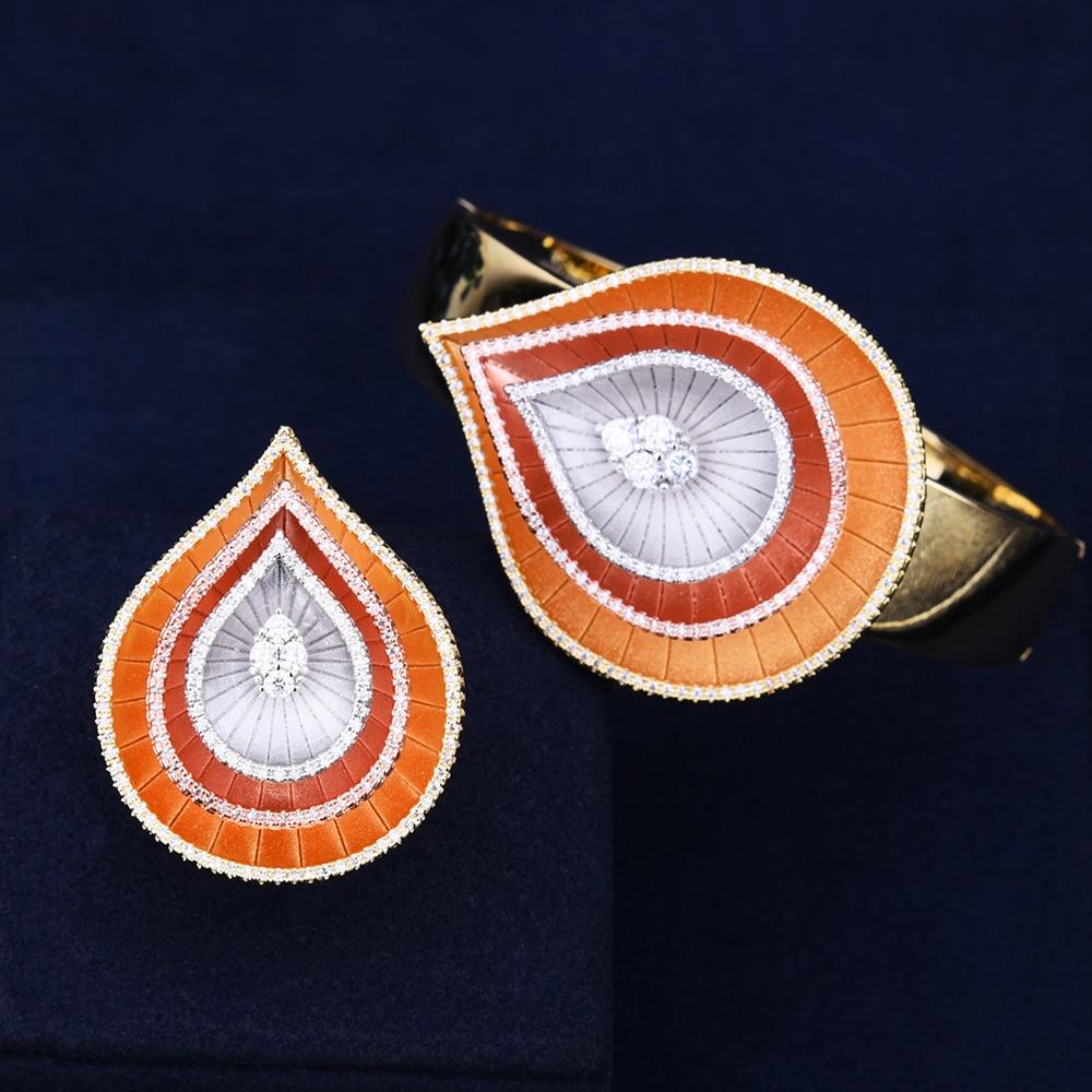 GODKI Fashion Water Drop Luxury Geometry Cluster AAA Cubic Zirconia Women Unique Bracelet Bangle Ring Set