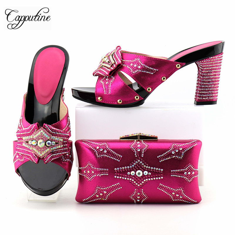 Capputine Summer Fashion High Heels Shoes And Bags Set New Africa Style Rhinestone Pumps Shoes And Bag Set For Party YM005 capputine summer style africa low heels woman shoes and bag fashion slipper shoes and purse set for party size 38 42 tx 8210