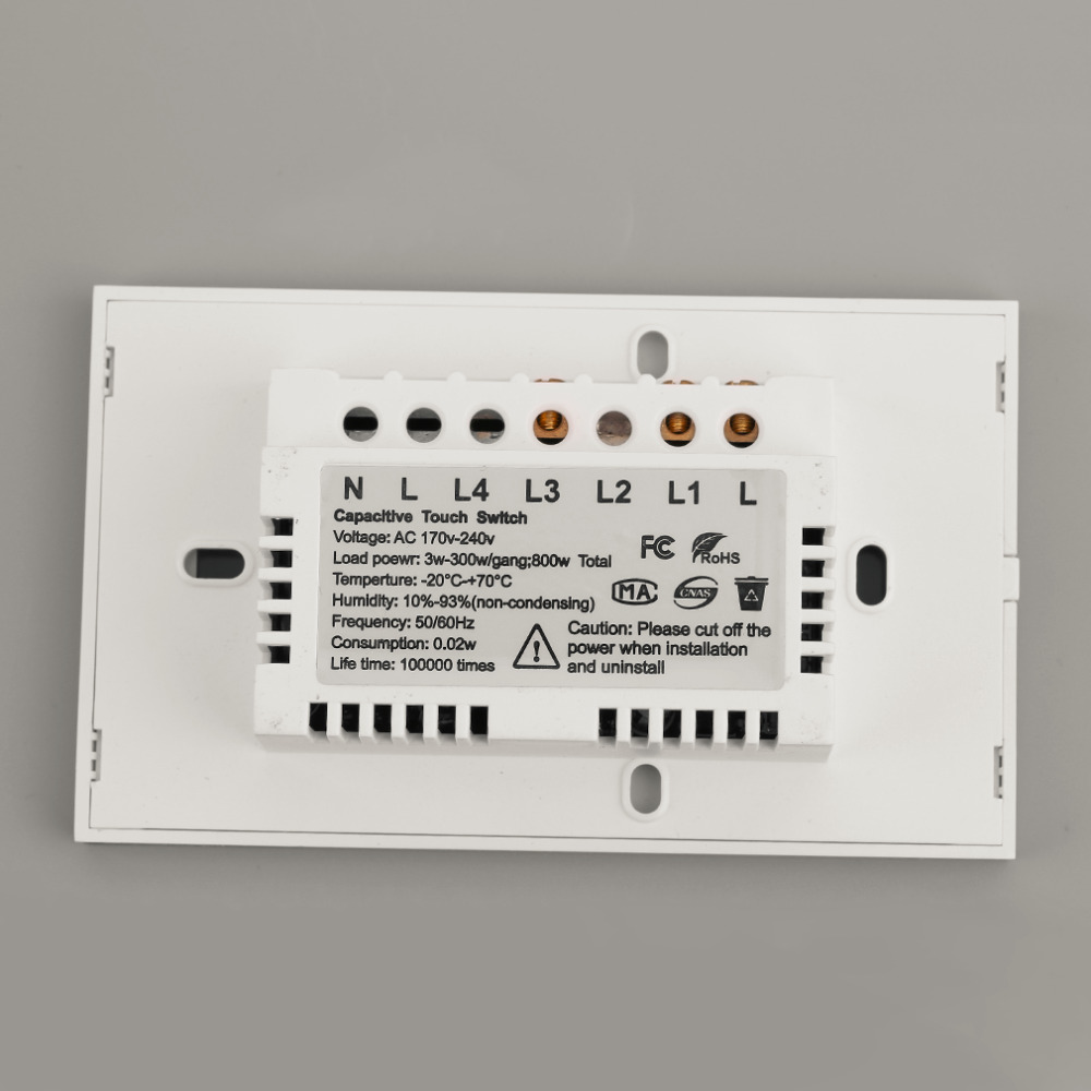 2 gang Touch Senser Wall Switch White Crystal Glass Panel 2 Circuit ...